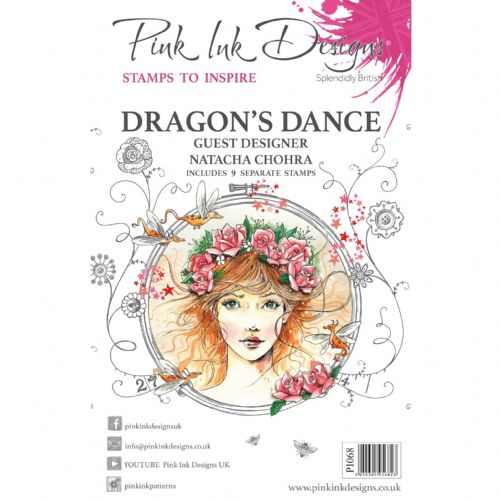 Pink Ink Designs - Dragon's Dance A5 Clear Stamp